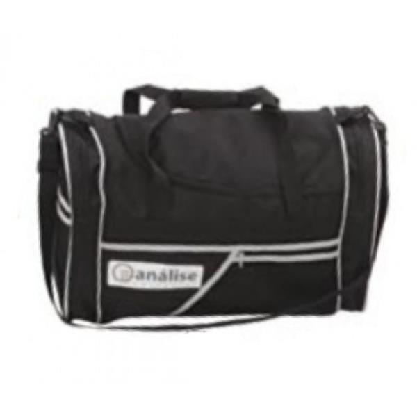Bolsa de Viagem em material sintético na cor preta com detalhes cinza