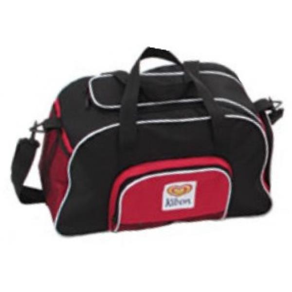 Bolsa de Viagem Personalizada nas cores preto e detalhes vermelhos